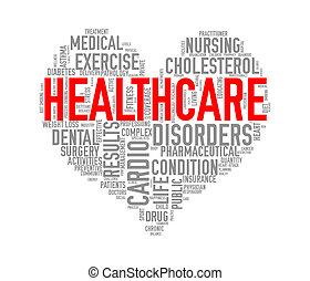 Wordcloud healthcare heart concept