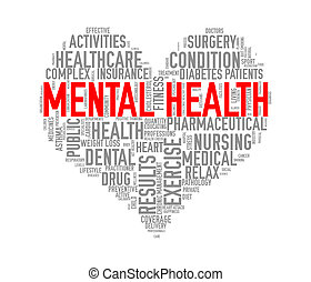 Illustration of heart shape health care wordcloud tags showing concept of mental health