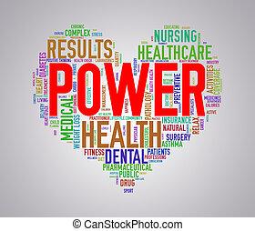 Wordcloud healthcare heart concept power