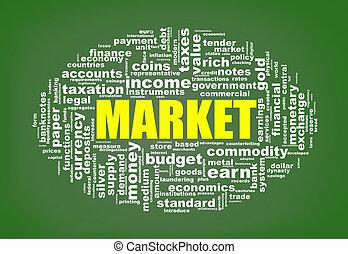 wordcloud, markt, markeringen
