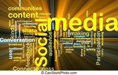 wordcloud, medien, sozial, glühen