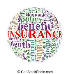 wordcloud, mot, étiquettes, balle, assurance