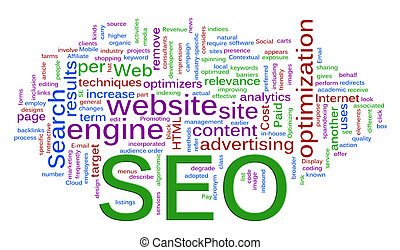 Words in a wordcloud of SEO - Search Engine optimization