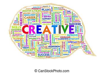 Wordcloud on texture paper speech bubble, Creative