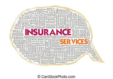Wordcloud on texture paper speech bubble, Insurance concept