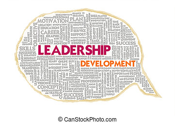 Wordcloud on texture paper speech bubble, Leadership