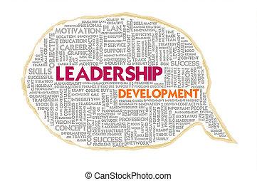 Wordcloud on texture paper speech bubble, Leadership