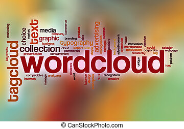 wordcloud, parola, nuvola, con, astratto, fondo