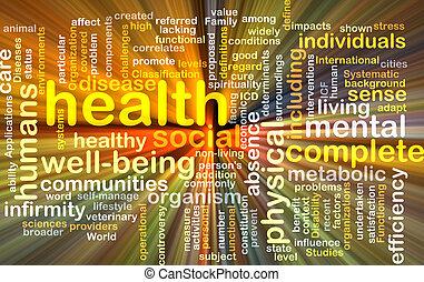 wordcloud, pojęcie, zdrowie, jarzący się, ilustracja