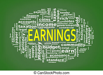 Wordcloud tags of earnings