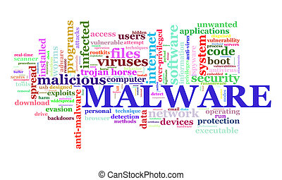 Illustration of wordcloud tags of malware concept