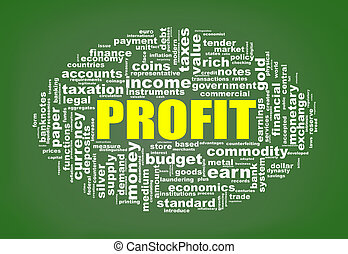 Wordcloud tags of profit