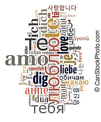 wordcloud text Love you in different languages