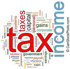 wordcloud, van, inkomstenbelasting