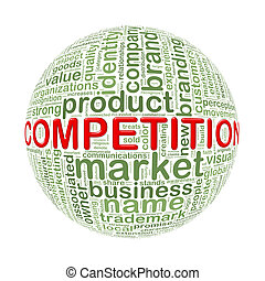 Wordcloud word tags ball of competition