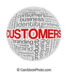 Wordcloud word tags ball of customers
