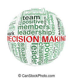 Illustration of word tags wordcloud ball sphere of decision making
