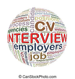 Wordcloud word tags ball of interview