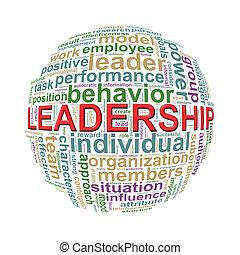 Wordcloud word tags ball of leadership