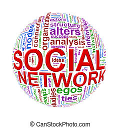 Wordcloud word tags ball of social network