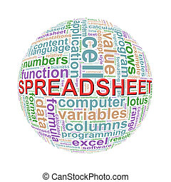 Wordcloud word tags ball of spreadsheet