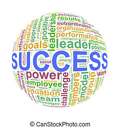 Wordcloud word tags ball of success