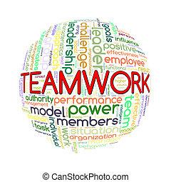 Wordcloud word tags ball of team work