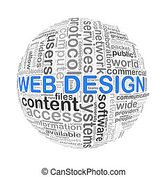 Wordcloud word tags ball of web design