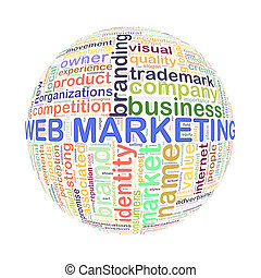 Wordcloud word tags ball of web marketing
