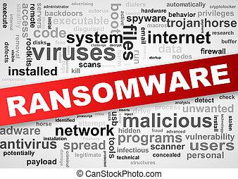 wordcloud, wordcloud, etichette, di, malware, ransomware