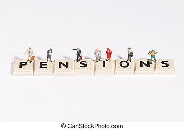 "wordgames- pension - ""pension"" written of scrabble-stones ..."