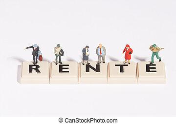 """wordgames- rente - """"rente"""" written of scrabble-stones with ..."""