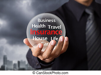 Life insurance concept - Wording in glowing crystal ball, ...