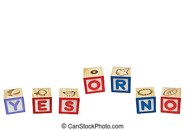 Wording YES from letter blocks