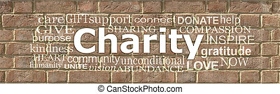 Words associated with Charity Brick Wall Word Cloud
