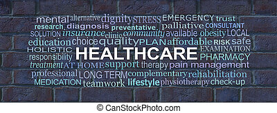 Words associated with Health Care Brick Wall Concept