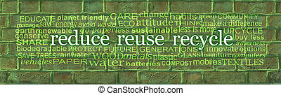 Words associated with Reduce Reuse Recycle Green Brick Wall Word Cloud