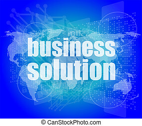 words business solution on digital screen, business concept