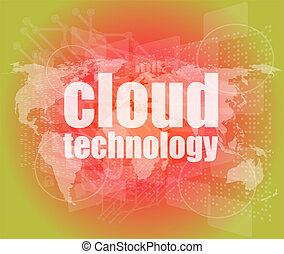 words cloud technology on digital screen, information technology concept