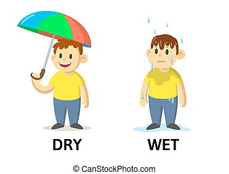 Words dry and wet flashcard with cartoon characters. Opposite adjectives explanation card. Flat vector illustration, isolated on white background.