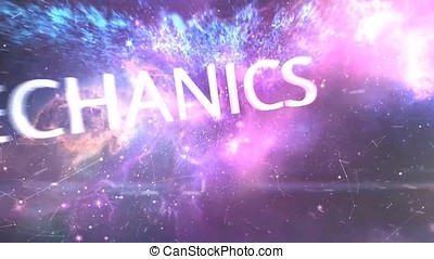 Words electricity, magnetism, optics. Abstract backgrounds,Abstract matrix like background. Star field in deep space many light years far from the Earth.