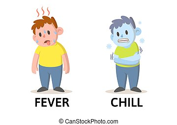 Words fever and chill flashcard with cartoon boy characters. Opposite nouns explanation card. Flat vector illustration, isolated on white background.