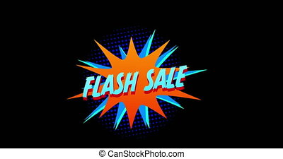 Animation of blue words Flash Sale appearing in front of explosion blue effect against black screen 4k