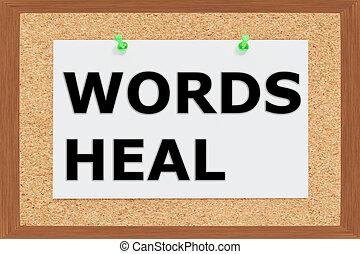 Render illustration of Words Heal title on cork board