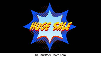 Animation of words Huge Sale in front of orange and blue explosion effect against black screen 4k