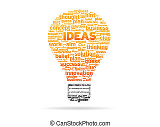 Words - Ideas - Abstract Light Bulb with the word Ideas on...