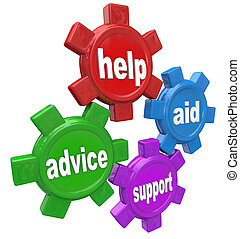 Four gears turning together with the words Help, Aid, Advice and Support to illustrate the assistance you can get from a helper such as customer service