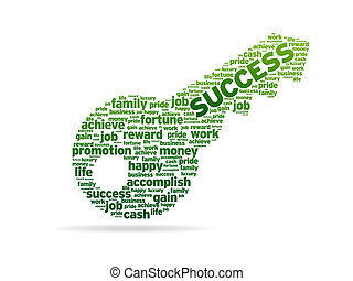 A key with the word success on white background.