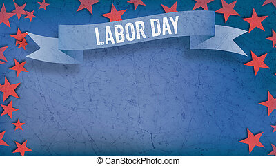 labor day on banner, Fourth of July, background, red stars, copy space