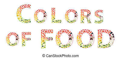 Words made from vegetables and fruits, isolated